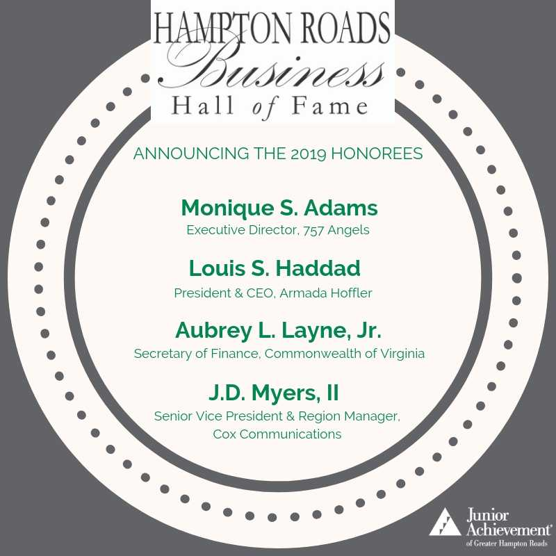 Junior Achievement announces 2019 Hampton Roads Business Hall of Fame honorees