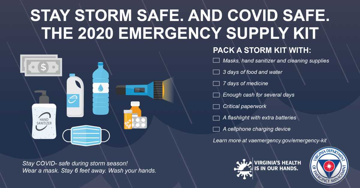 The Virginia Department of Emergency Management offers storm and COVID tips