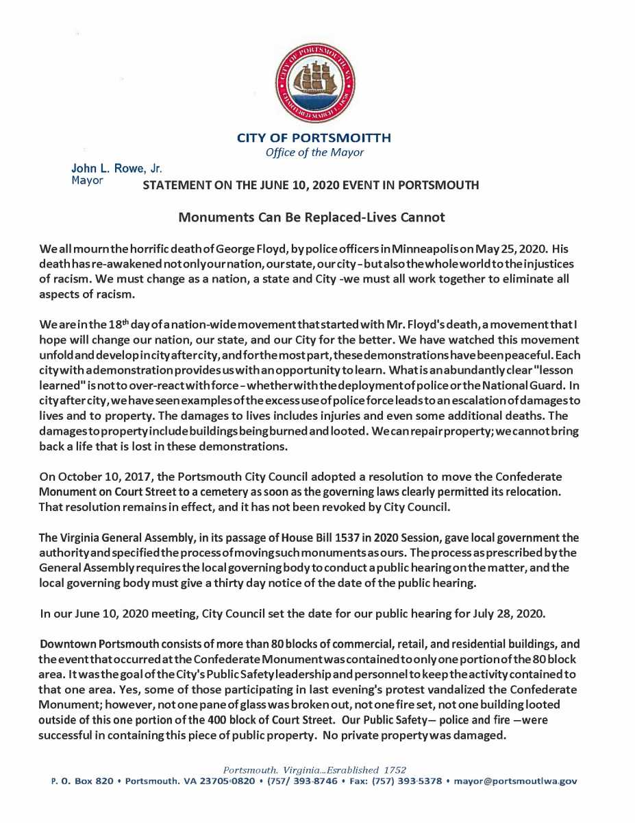 Portsmouth Mayor John Rowe's Statement on Monuments