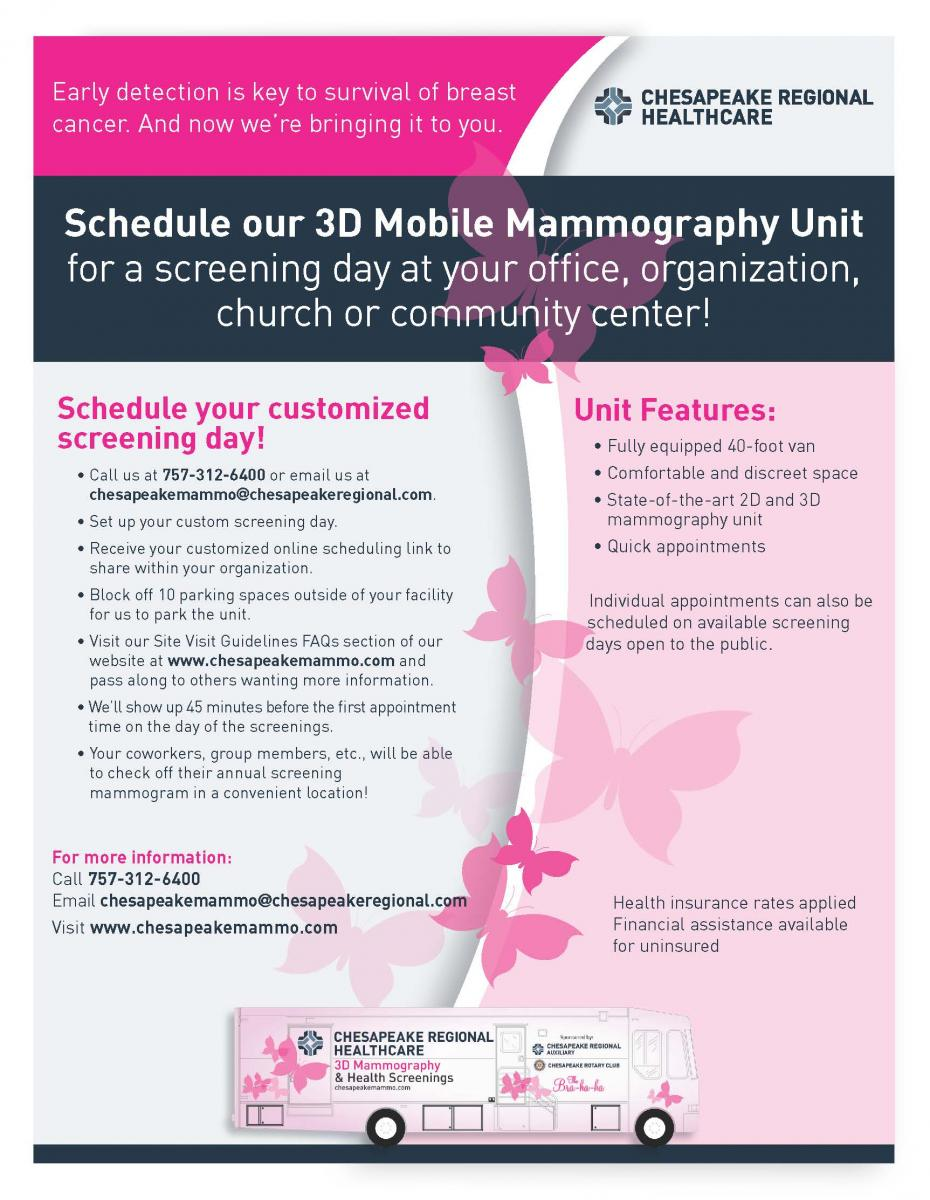 Schedule a 3D Mobile Mammography Unit for a screening day at your office, organization, church or community center.