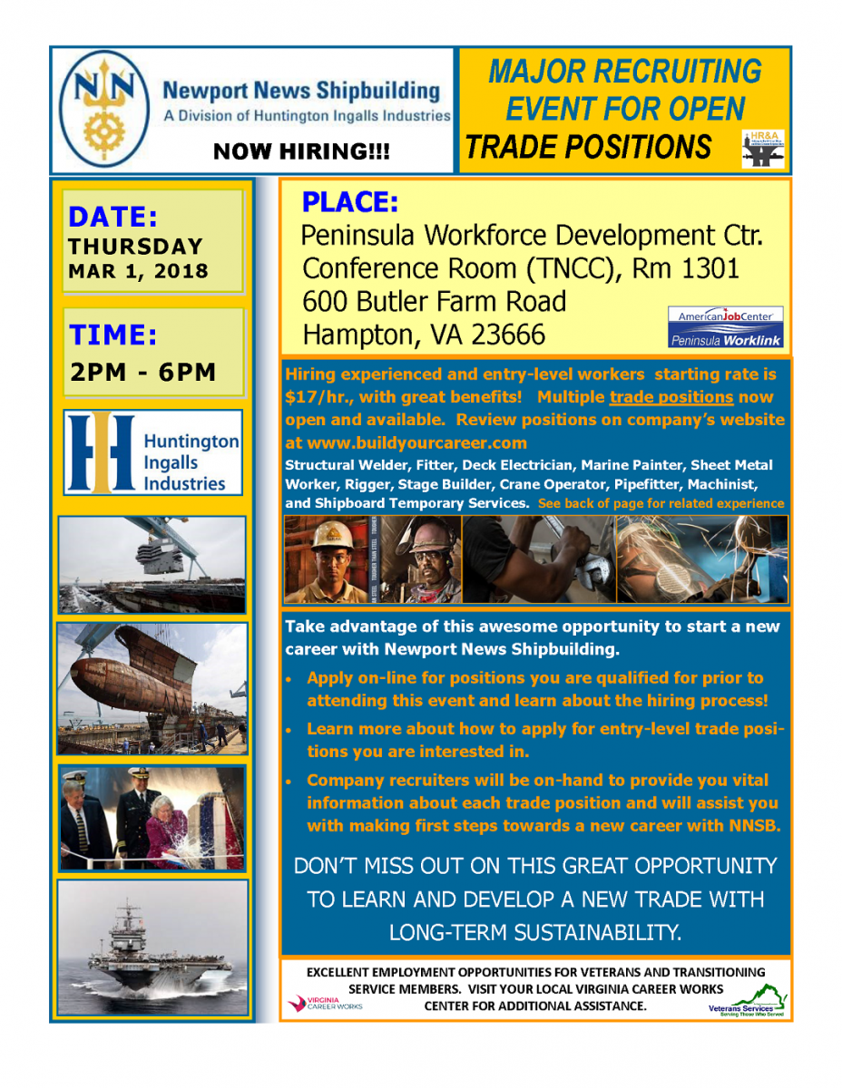 Major Recruiting Event for Open Trade Positions