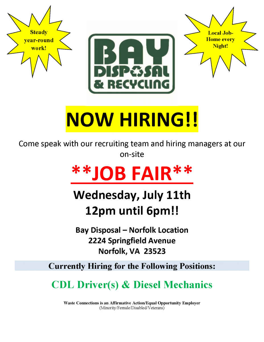 Bay Disposal & Recycling *JOB FAIR*