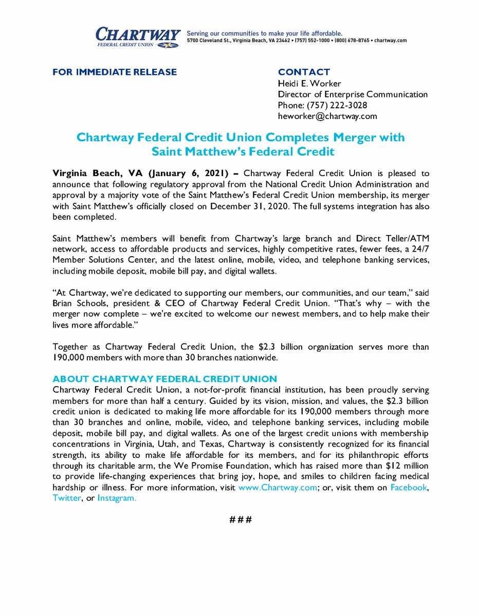 Chartway Federal Credit Union Completes Merger with Saint Matthew's Federal Credit Union