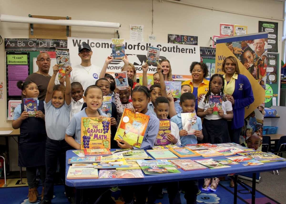 United Way, Norfolk Southern present books, supplies to students at 4 Norfolk Schools