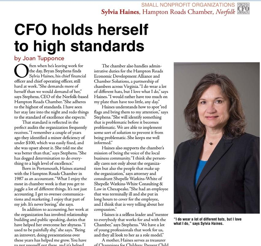 Hampton Roads Chamber CFO Sylvia Haines Featured in Virginia Business August Issue