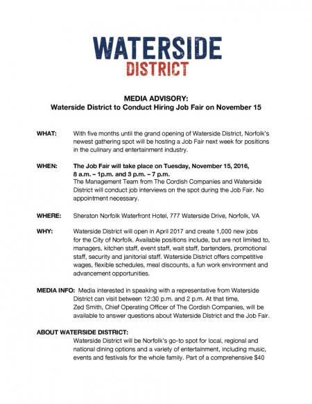 Waterside District to Conduct Job Fair