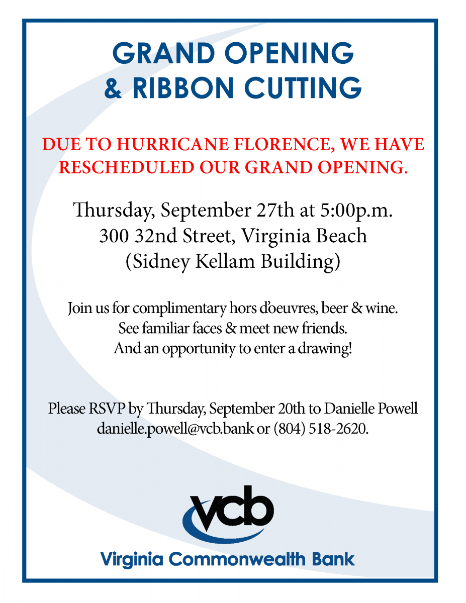 New Date for Grand Opening & Ribbon Cutting | Virginia Commonwealth Bank