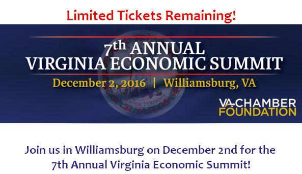 Limited Tickets Available for the 2016 Virginia Economic Summit