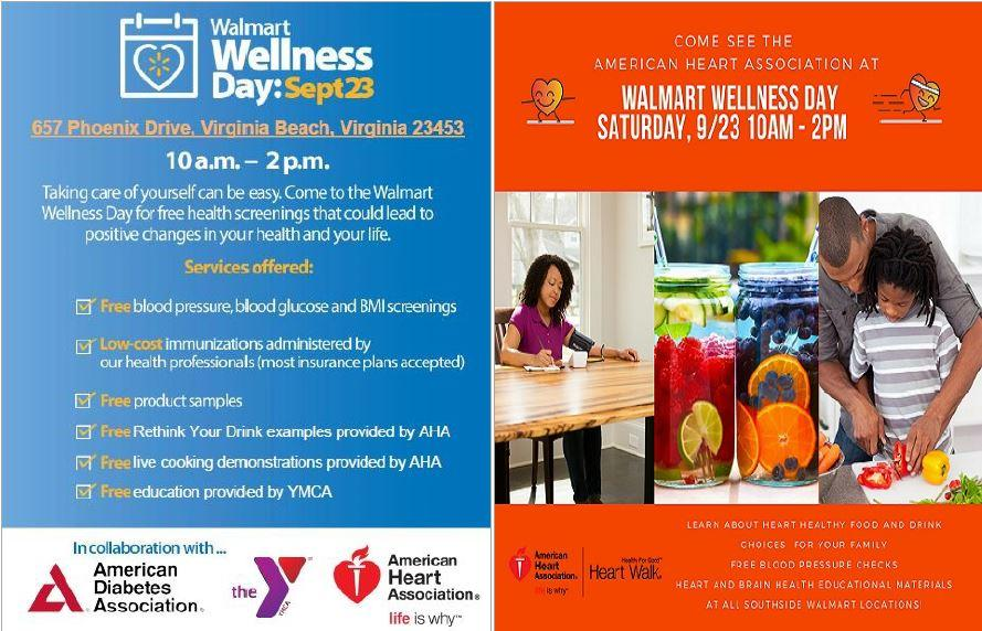Come out to Walmart Wellness Day: Saturday, September 23